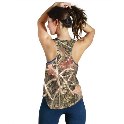 Camouflage Realistic Tree Authumn Print Women Racerback Tank Top