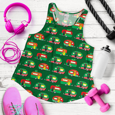 Camper Camping Christmas Themed Print Women Racerback Tank Top