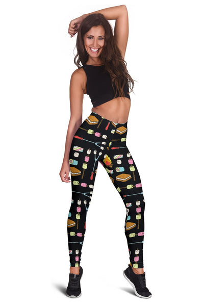 Camping Campfire Marshmallows Women Leggings