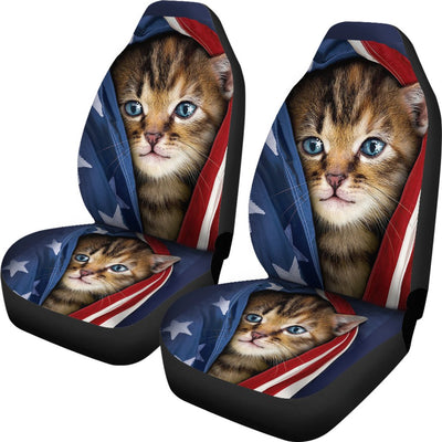 Cat USA Flag Design No1 Print Universal Fit Car Seat Covers