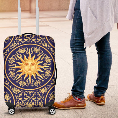 Celestial Gold Sun Face Luggage Cover Protector