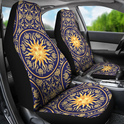 Celestial Gold Sun Face Universal Fit Car Seat Covers