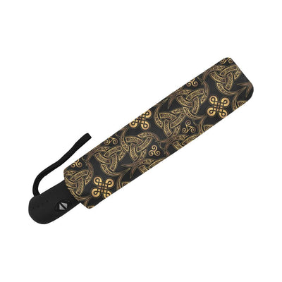 Celtic Knot Gold Design Automatic Foldable Umbrella