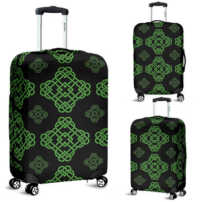 Celtic Knot Green Neon Design Luggage Cover Protector