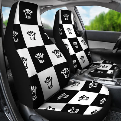 Checkered Flag Crown Pattern Universal Fit Car Seat Covers