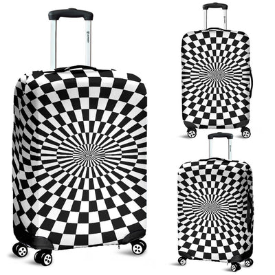 Checkered Flag Optical Illusion Luggage Cover Protector