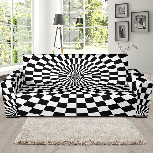 Checkered Flag Optical illusion Sofa Slipcover-JTAMIGO.COM