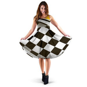 Checkered Flag Racing Style Sleeveless Dress