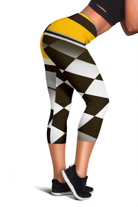 Checkered Flag Racing Style Women Capris