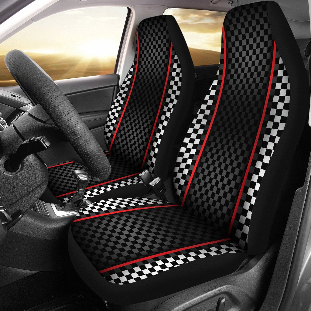 Checkered Flag Red Line Style Universal Fit Car Seat Covers
