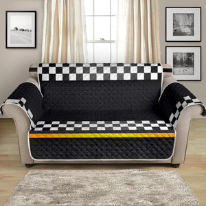 Checkered Flag Yellow Line Style Loveseat Sofa Protector-JTAMIGO.COM