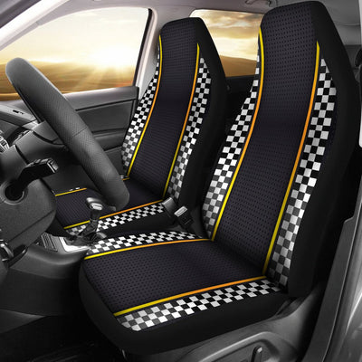 Checkered Flag Yellow Line Style Universal Fit Car Seat Covers