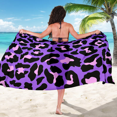 Cheetah Purple Neon Print Pattern Sarong Pareo Wrap
