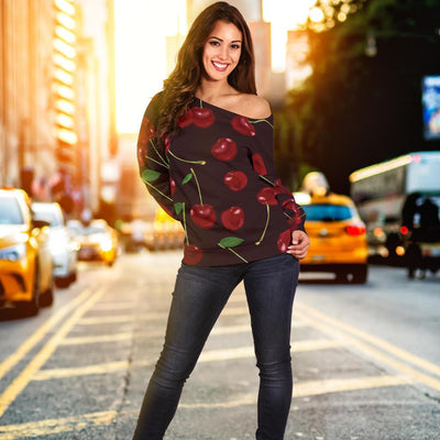 Cherry Fresh Pattern Off Shoulder Sweatshirt