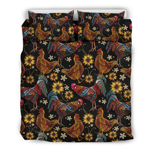 Chicken Embroidery Style Duvet Cover Bedding Set