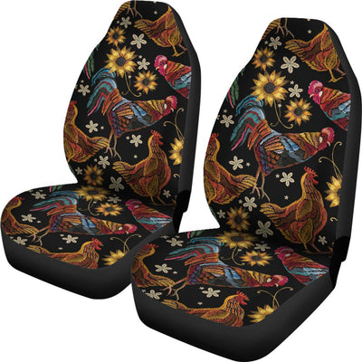 Chicken Embroidery Style Universal Fit Car Seat Covers