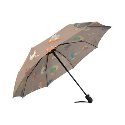 Chicken Happy Print Pattern Automatic Foldable Umbrella