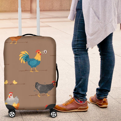 Chicken Happy Print Pattern Luggage Cover Protector