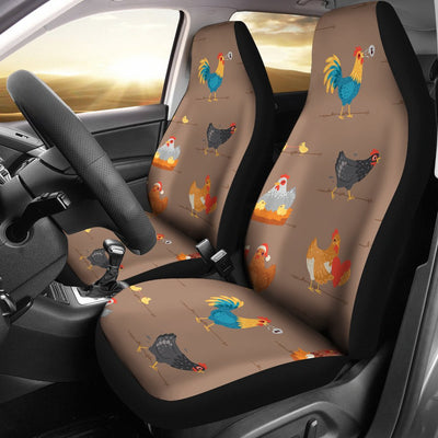 Chicken Happy Print Pattern Universal Fit Car Seat Covers