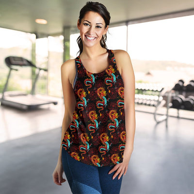 Chinese Dragons and Peonies Design Women Racerback Tank Top