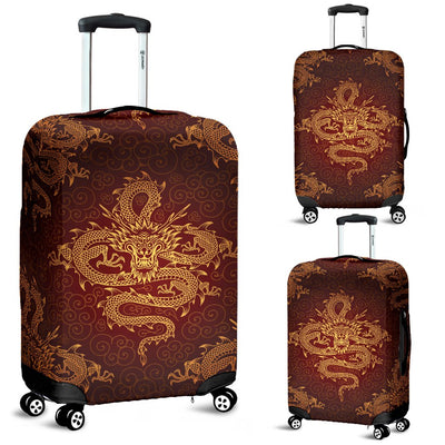 Chinese Dragons Gold Design Luggage Cover Protector