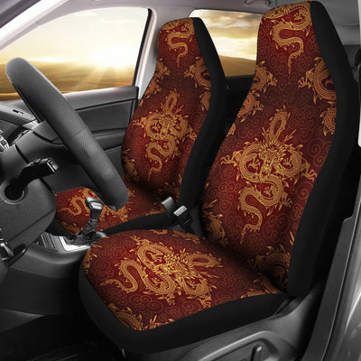Chinese Dragons Gold Design Universal Fit Car Seat Covers