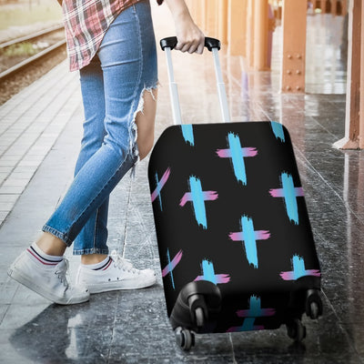 Christian Cross Neon Pattern Luggage Cover Protector