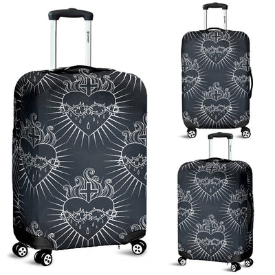 Christian Heart Tattoo Style Luggage Cover Protector