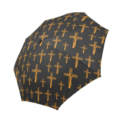 Christian Tree of Life Cross Design Automatic Foldable Umbrella