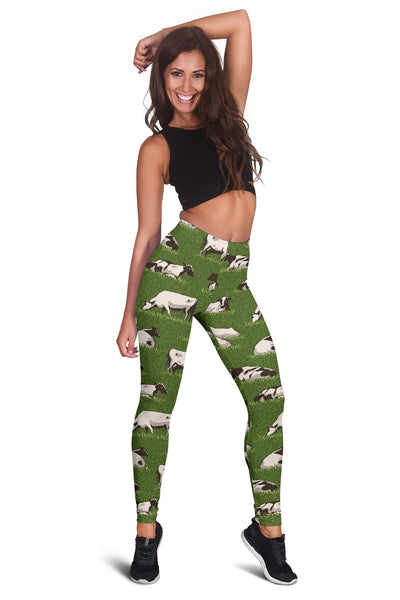 Cow on Grass Print Pattern Women Leggings