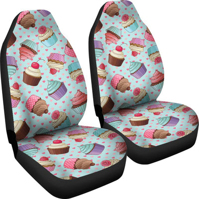 Cupcakes Fancy Heart Print Pattern Universal Fit Car Seat Covers