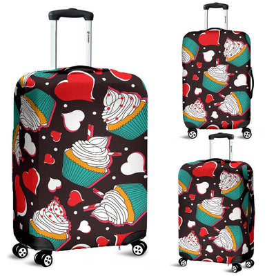 Cupcakes Heart Print Pattern Luggage Cover Protector