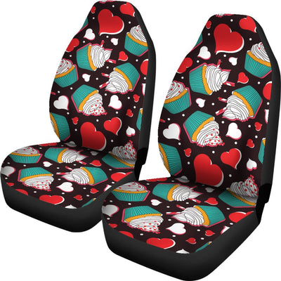 Cupcakes Heart Print Pattern Universal Fit Car Seat Covers