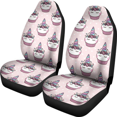 Cupcakes Unicorn Print Pattern Universal Fit Car Seat Covers