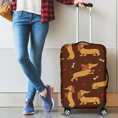 Dachshund Happy Print Pattern Luggage Cover Protector