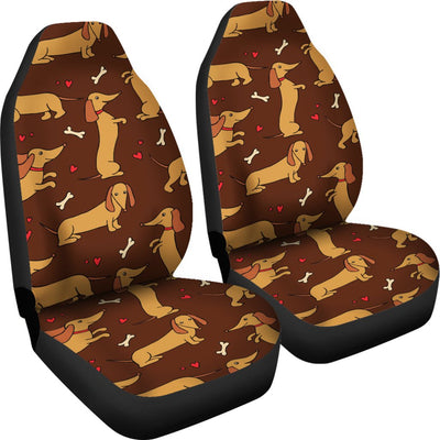 Dachshund Happy Print Pattern Universal Fit Car Seat Covers