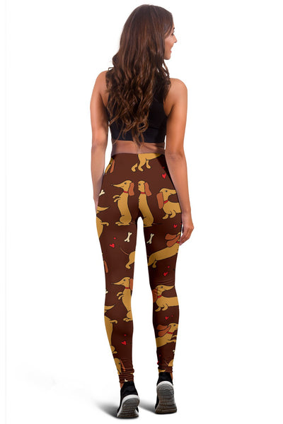 Dachshund Happy Print Pattern Women Leggings
