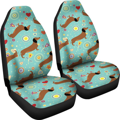 Dachshund with Floral Print Pattern Universal Fit Car Seat Covers