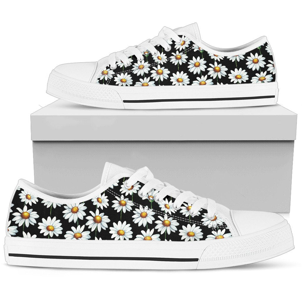 Daisy Print Pattern Women Low Top Shoes