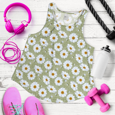 Daisy Yellow Print Pattern Women Racerback Tank Top