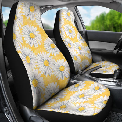 Daisy Yellow Watercolor Print Pattern Universal Fit Car Seat Covers