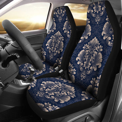 Damask Blue Luxury Print Pattern Universal Fit Car Seat Covers