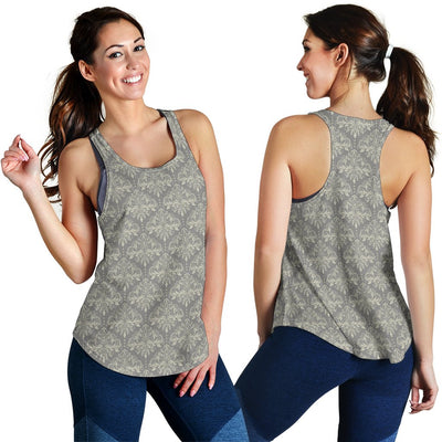 Damask Grey Elegant Print Pattern Women Racerback Tank Top