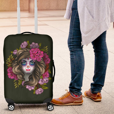 Day Of The Dead Makeup Girl Luggage Cover Protector