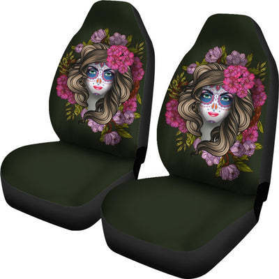Day of the Dead Makeup Girl Universal Fit Car Seat Covers