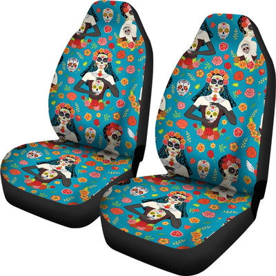 Day of the Dead Old School Girl Design Universal Fit Car Seat Covers