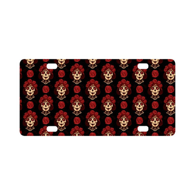 Day of the Dead Skull Girl Pattern Classic License Plate-JTAMIGO.COM