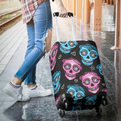 Day Of The Dead Skull Print Pattern Luggage Cover Protector
