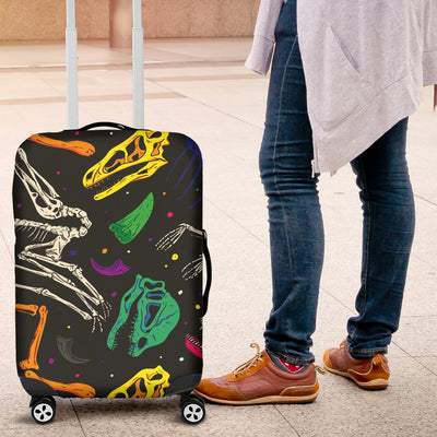 Dinosaur Skull Color Print Pattern Luggage Cover Protector