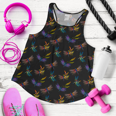 Dragonfly Colorful Realistic Print Women Racerback Tank Top
